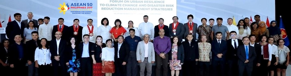 Guests and paper presentors during the ASEAN Forum on Urban Resilience on Climate Change Disaster Risks Reduction Strategies held on 5-7 December 2017 in Laoag City, Ilocos Norte, Philippines. Dr. Lope B. Santos III, Unit Head for Project Development and Technical Services (PDTS), SEARCA is one of the paper presentors. Guests in the photo include Hon. Imee Marcos, Governor of Ilocos Norte; Ambassador Marciano A. Paynor, Director-General for Operations of ASEAN 2017; Ambassador Elizabeth P. Buensuceso, Permanent Representative of the Republic of the Philippines to ASEAN; Atty. Jonas R. Leones, Undersecretary for Policy, Planning, and International Affairs of DENR; and Dr. Henry Adornado Director, DENR-ERDB.