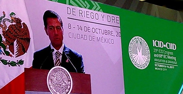 Mexico President Enrique Peña Nieto delivers his keynote speech at the inauguration of the 23rd ICID Congress and 68th IEC Meeting on 9 October 2017 at WTC Mexico City, Mexico.