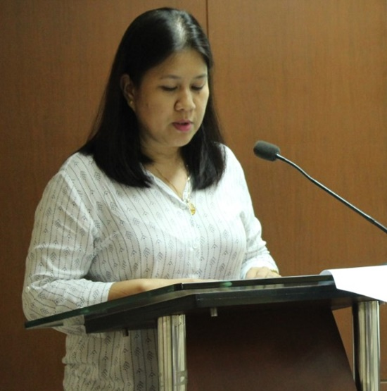 Ms. Evelyn H. Juanillo, DA-BAR Information Officer IV, delivers the opening remarks on behalf of Dr. Nicomedes P. Eleazar, DA-BAR Director.