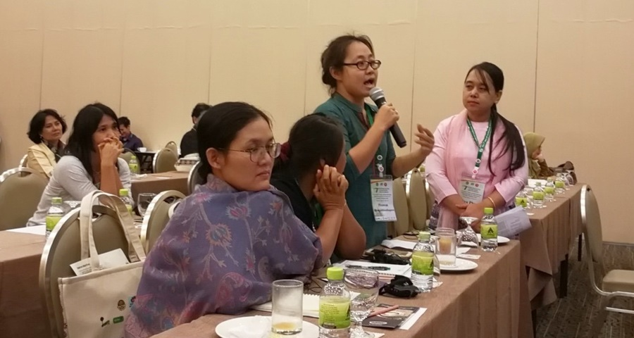 Dr. Phyu Phyu Win (standing, right-most) serves as moderator in the session 'Integrating Social Forestry/Community Forestry Enterprises in Micro, Small and Medium Enterprises (MSME) Plan of ASEAN: Pathway to achieving Success.'