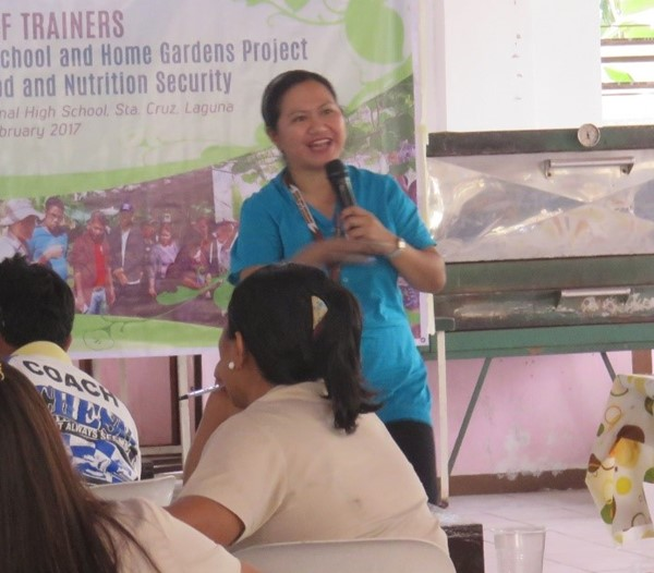 Dr. Leila S. Africa, Study Leader and Associate Professor from UPLB, discussing issues on food and nutrition