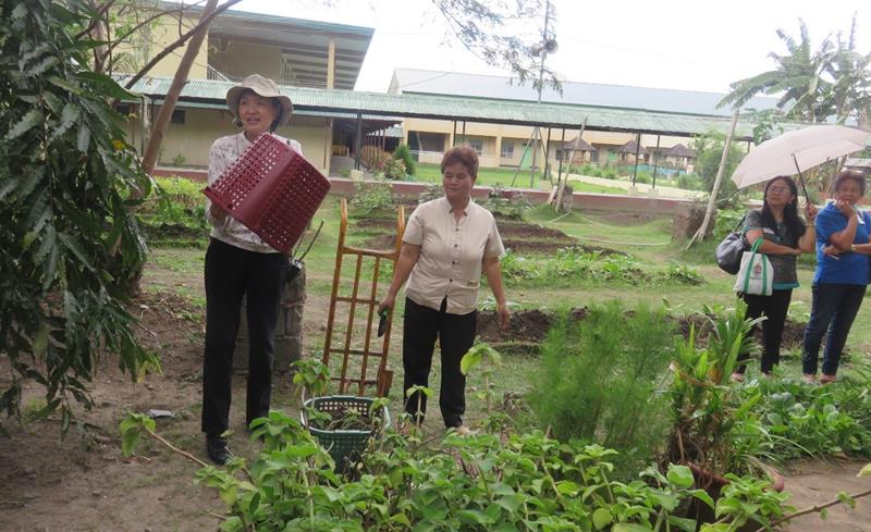 Dr. Blesilda M. Calub, Project Leader, and University Researcher from UPLB, demonstrates composting using baskets