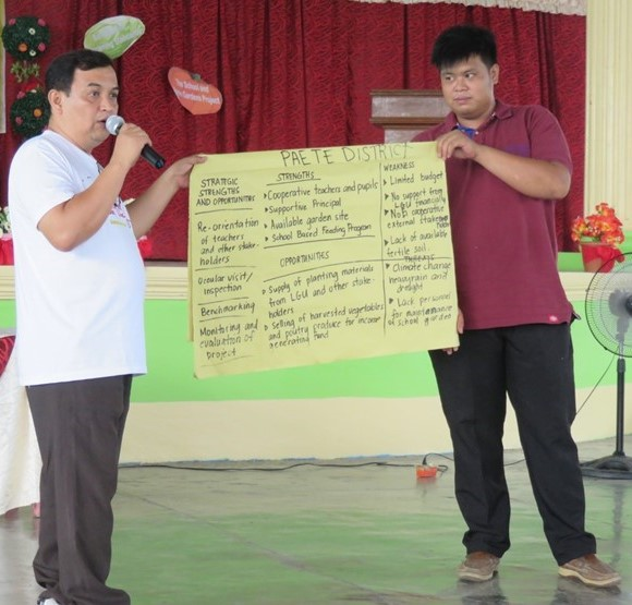 Participants from the Schools District of Paete presenting their Strategic SWOT Analysis.