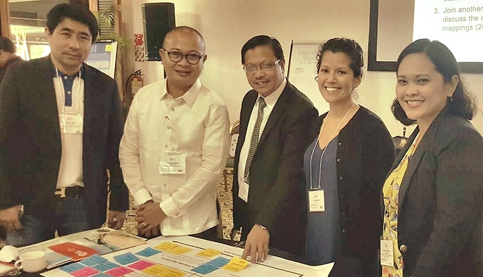 The Philippine delegates (from left) Mr. Alexis Lapiz, Mr. Jerome Ilagan, Dr. Lope B. Santos III, and Mylene Claudio, together with Ms. Ann Hammill (second from the right), National Adaptation Plan Global Network Director, participate in the Targeted Topics Forum in Nadi, Fiji.