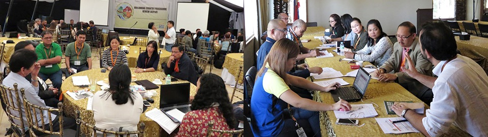 Dr. Lope Santos, Ms. Karen Quilloy, Mr. Jimmy Williams, and Dr. Burgos exchanging insights with representatives of other IFAD-funded projects in the Philippines during the breakout sessions