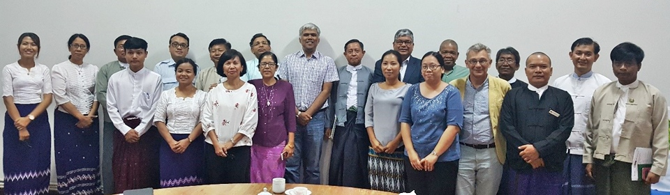 MOALI Permanent Secretary Dr. Tin Htut (center) with the ATMI-ASEAN Myanmar Technical Working Group, IFPRI and SEARCA representatives