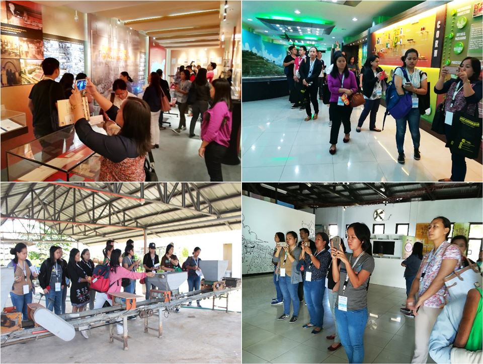 Clockwise from top left: The learner-participants tour the Knowledge Hub and Library in ADB, Learning and Discovery Center in ATI, Rice Museum, and FutureRice Farm in PhilRice as part of the 2nd F2F Session in January 2018.