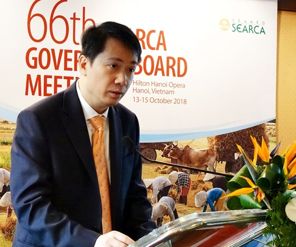 Dr. Pham Quang Hung, Director General of the International Cooperation Department of the Minsitry of Education and Training (MOET), Vietnam delivered the welcome remarks during the Opening Ceremony of the 66th SEARCA GBM.