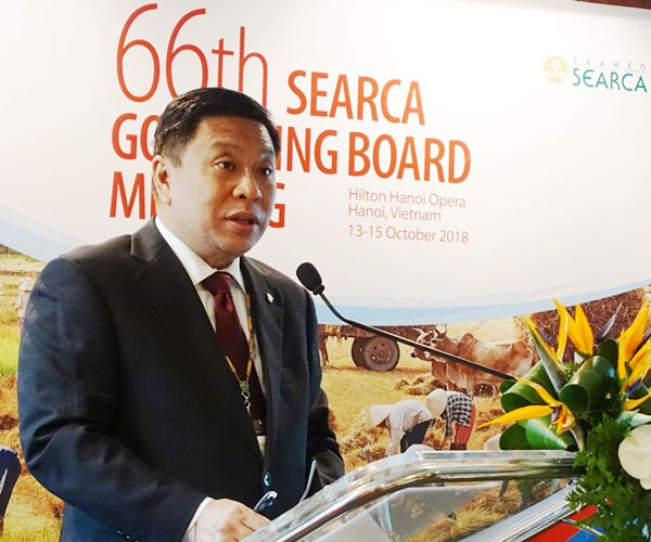 Dr. Fernando C. Sanchez, Jr., Country Representative of the Philippines and Chair of the SEARCA Governing Board, delivered a message during the opening ceremonies of the 66th SEARCA GBM.