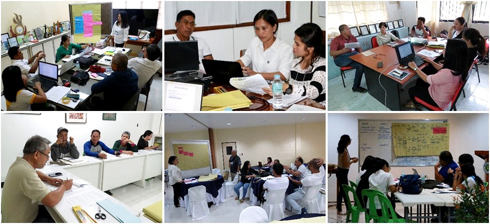Participating groups of farmers, local government units, and stakeholder agencies from Victoria, Oriental Mindoro (1st row) and Inopacan, Leyte (2nd row) worked on their respective outputs.