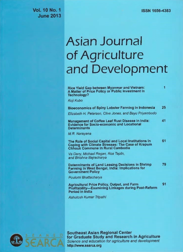 Asian Journal of Agriculture and Development Vol  10 No  1 - SEARCA