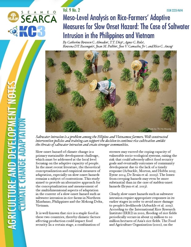 Meso-Level Analysis on Rice-Farmers' Adaptive Measures for Slow Onset Hazard: The Case of Saltwater Intrusion in the Philippines and Vietnam