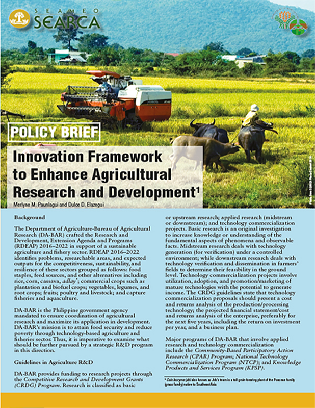Innovation Framework to Enhance Agricultural Research and Development
