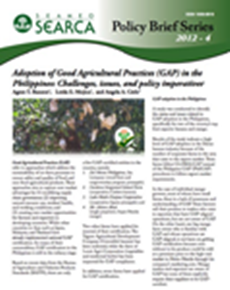 Adoption of Good Agricultural Practices (GAP) in the Philippines: Challenges, issues, and policy imperatives