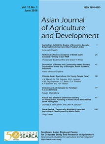 Asian Journal of Agriculture and Development Vol. 13 No. 1