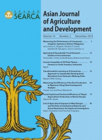 Asian Journal of Agriculture and Development 16.2