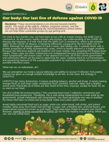 COVID-19 Advisory No. 2: OUR BODY: OUR LAST LINE OF DEFENSE AGAINST COVID-19