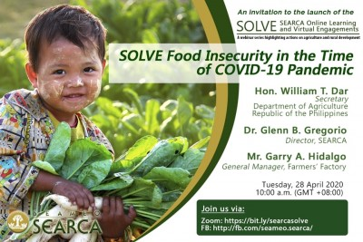 Food security amidst the COVID-19 pandemic takes center stage in the maiden launch of SEARCA's new webinar series called SOLVE